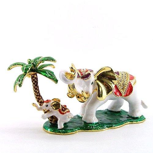 [NEW] Jewelry Trinket Box Figurine Case Vintage Collectible for Keepsake Art Decor Holder Organizer Pill Box - Magnet Secured Storage, Jeweled w/ Swarovski Crystals ( Elephants ) (Tree Baby 2) (Baby White Trinket Box)