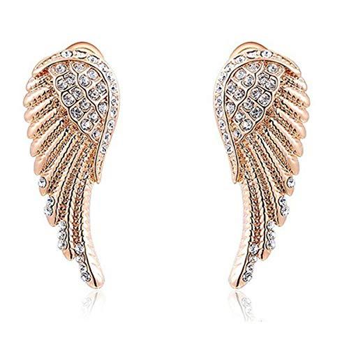 Crystal Angel Wings Earrings for Women Angel Wings Earrings Stud Anniversary Gifts Mother Day Gifts for Her Grandma Gifts Teenage Girls Mother's Day Gifts Girlfriend Wife Rose Gold