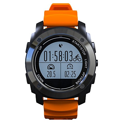 MAARYEE S928 Smart Watch with Real time Heart rate Monitor Built in GPS for Outdoor Sports and Multi-function for IOS & Android 3 Colors (Orange)