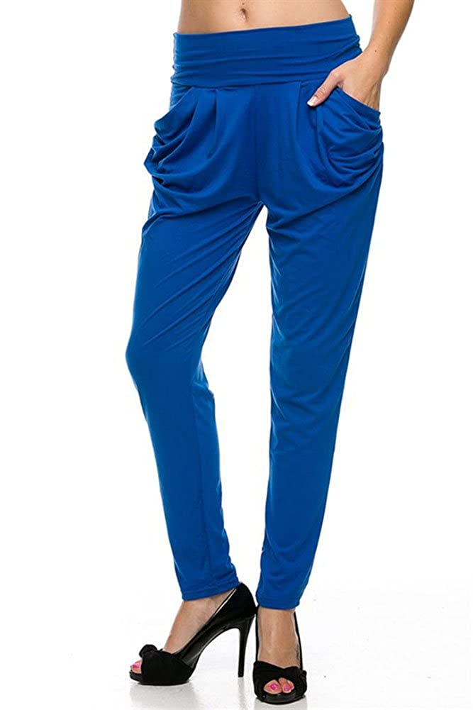 Plus Size Solid Casual Comfy Harem Pant with Pockets