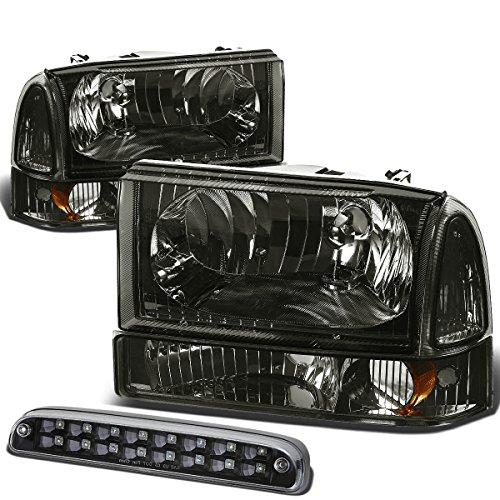 For Ford Super Duty 1st Gen Pair of Smoke Lens Amber Corner Headlight+Black Housing LED 3rd Brake Light