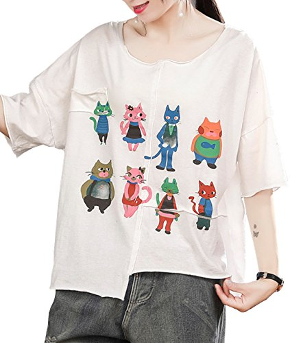 Hem Long Sleeve Cotton - YESNO E79 Women Casual Loose Tee T-Shirts Tops 100% Cotton Cartoon Printed Stitched Hi-Low Rolled Hem Short Sleeve