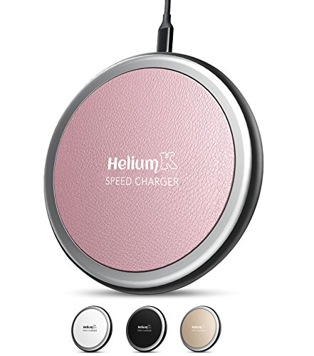Wireless Charger Pad For IPhone X Qi-Enabled Devices (10 W) – Universal Fast Wireless Charging Station with Leather Cover iPhone 8/8 Plus, iPhone X, Samsung Galaxy Note 8/S8/Plus, S7/Edge & (Car Charger Pink Case)