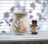 Sandalwood Oil Warmer Set Burner Home Room Scent Relaxation Aroma Ceramic Candle