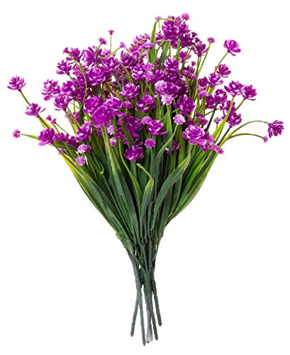 Red Co. Faux Floral Bouquet, Artificial Fake Greenery Flowers for Home and Outdoor Garden Decor, 6 Single Picks, Amaranth Purple