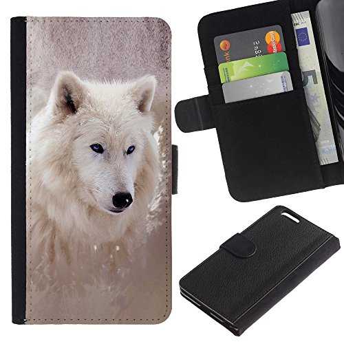 EuroCase - Apple Iphone 6 PLUS 5.5 - Cool Winter Wolf - Cuir PU Coverture Shell Armure Coque Coq Cas Etui Housse Case Cover