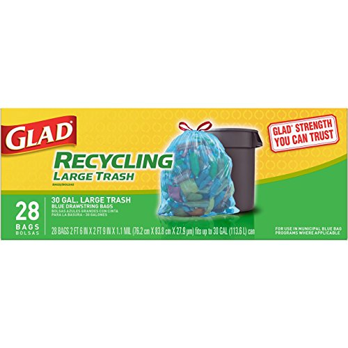 Glad Recycling Large Drawstring Blue Trash Bags 30