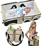 Diaper Bag Changing Table Combo TinyToes 3 in 1 - Travel Bassinet - Diaper bag - Change Station - (Cream) - Baby Diaper Bag Bed Nappy Infant Carrycot Portable Change Table Portacrib Boy Girl Best Quality Newborn