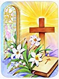 Caroline's Treasures Easter Cross and Bible In Stain Glass Window Glass Cutting Board, Large, Multicolor