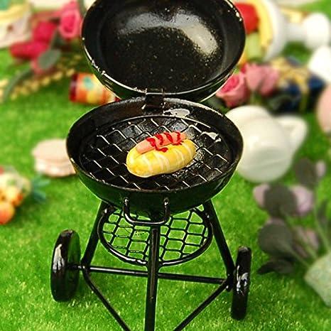 Casa de muñecas en miniatura barbacoa Grill Mini muebles juguetes para barbacoa y horno, color