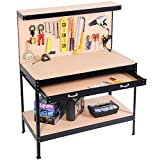 Black Working Bench With Drawer And Peg Board Work Bench Tool Storage Steel Hanging Tool Workshop Table Two Roll Out Drawers Bottom Shelf For Storing Heavy Duty Tools Garage Shop