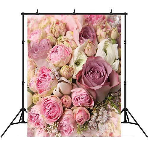 Price comparison product image Rose Floral Wall 5x7ft Backdrop for Photography Pink Flowers Newborns Photo Stuido Background Vinyl Valentine's Day Party Decorations