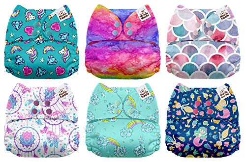 Mama Koala One Size Baby Washable Reusable Pocket Cloth Diapers, 6 Pack with 6 One Size Microfiber Inserts (Fairy Magic) ()