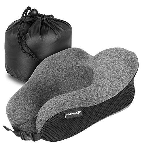 - Fosmon Travel Pillow, Soft and Comfortable Memory Foam Travel Neck Pillow,Head and Chin Support Neck Cushion, Machine Washable 100% Cotton Cover for Traveling Flying Airplane Flight Car Bus Train Ride