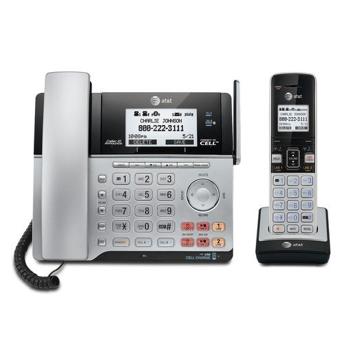 AT&T TL86103 DECT 6.0 Connect to Cell 2 Line Answering System with Caller ID/Call Waiting, 1 Corded & 1 Cordless Handset, Silver/Black (Voip Handset Phone Telephone)