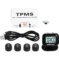 Romacci Sistema de Monitoramento de Pressão dos Pneus TPMS Display LCD em tempo real sem fio 4 Sensores externos Função…
