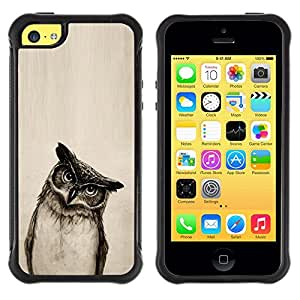 Suave TPU GEL Carcasa Funda Silicona Blando Estuche Caso de protección (para) Apple Iphone 5C / CECELL Phone case / / Owl Drawing Art Pencil Black White Bird Night /