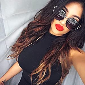 """My Girl"" Cat Eye Women Fashion Sunglasses Oversized Frame Metal Rim Dark Lens"