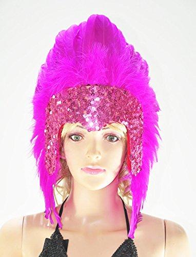 [Hot-fans Sequins Las Vegas Dancer Showgirl Headpiece, Hot Pink] (Las Vegas Showgirl Costume)