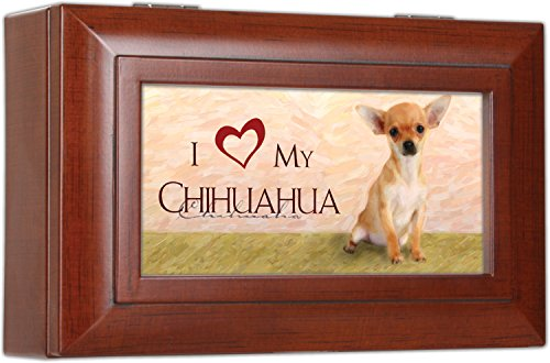 Cottage Garden Love My Chihuahua Rich Woodgrain Finish Petite Jewelry Music Box - Plays Song Wonderful World