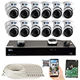 GW Security 16 Channel NVR 5 Megapixel H.265 Security Camera System, 12 Built-in Microphone Audio Recording HD 1920P IP PoE Dome Cameras, QR-Code Connection