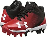 Under Armour Boys' Leadoff Mid Jr. RM Baseball Shoe, Black (061)/Red, 4