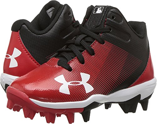 Under Armour Boys' Boys' Leadoff Mid RM Jr, Black (061)/Red, 5.5