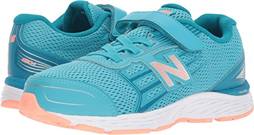 New Balance Girls' 680V5 Hook and Loop Running Shoe, Ozone Blue/Fiji, 1 M US Little Kid