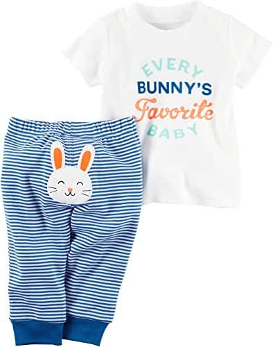 Carters Baby Boys 2-Piece Easter Top & Pant Set Bunny, Blue, 6M