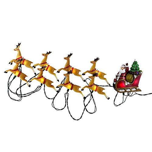 Kurt Adler 10-Light Santa Sleigh and Reindeer Light -