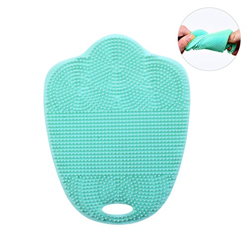 Multipurpose Food-Grade Silicone Sponge Antibacterial Vegetable Brushes Dishwashing Scrubber for Kitchen Wash, Pot/Pan/Dish Bowl/Wash Fruit and Vegetable, Stink Free & BPA Free (Tiffany Blue) (Bowl Fruit Tiffany)