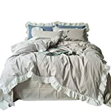 SUSYBAO 3 Pieces Ruffle Duvet Cover Set King Size European Rural Princess Bedding 1 Duvet Cover 2 Pillow Shams Beige Sweet Romantic Solid Luxury Elegant Striped Bedding Girls