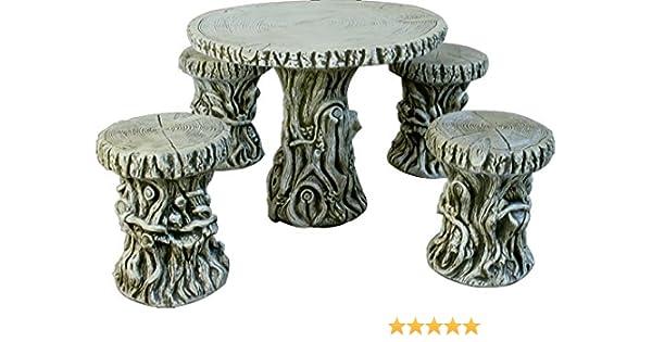 DEGARDEN Mesa Arbol 85cm. y 4 taburetes para jardín o Exterior de hormigón-Piedra: Amazon.es: Jardín