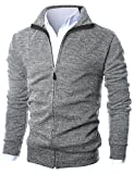 GIVON Mens Slim Fit Light Weight Full Zip Up Cardigan With Inside Soft Fabric/DCP047-GREY-XL