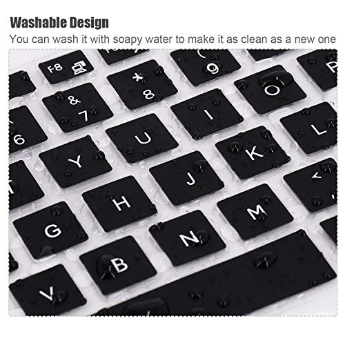 Saco Keyboard Protector Silicone Skin Cover for Dell Inspiron 15 7580 Laptop -Black with Clear