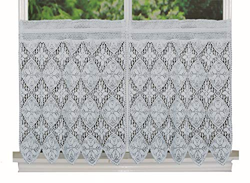 Creative Linens Knitted Crochet Lace Kitchen Curtain 30