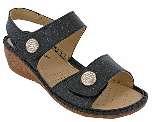 Cushion Walk Open Toe Slingback Touch Fasten Jewel Womens Sandals UK 3-8 Black nqH7ER91