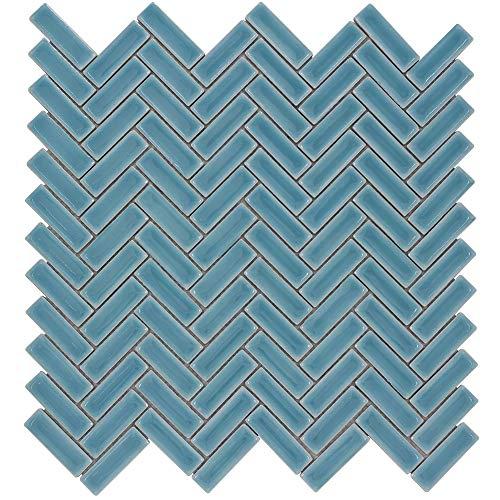 MTO0254 | Classic Herringbone Blue Porcelain Mosaic Tile
