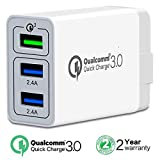 [ QC 3.0 + 2 USB ] Fast Wall Charger 3 Ports Tablet iPad Phone Charger Adapter Quick Charging Qualcomm Quick Charge 3.0 Travel Plug for iPhone X/8/8+/7P/7 Samsung S8/S7/S6/Edge/Note LG HTC. (1-PACK)