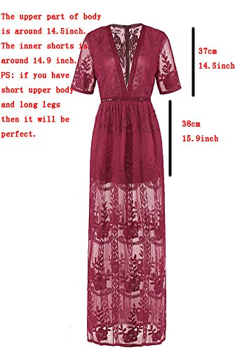 Wicky LS Women's Sexy Short Sleeve Long Dress Low V-Neck Lace Romper (S, Wine Red) by Wicky LS (Image #2)