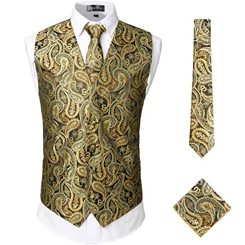ZEROYAA Mens Classic 3pc Jacquard Paisley Vest Set Necktie Pocket Square Waistcoat for Suit or Tuxedo ZLSV08 Gold Large