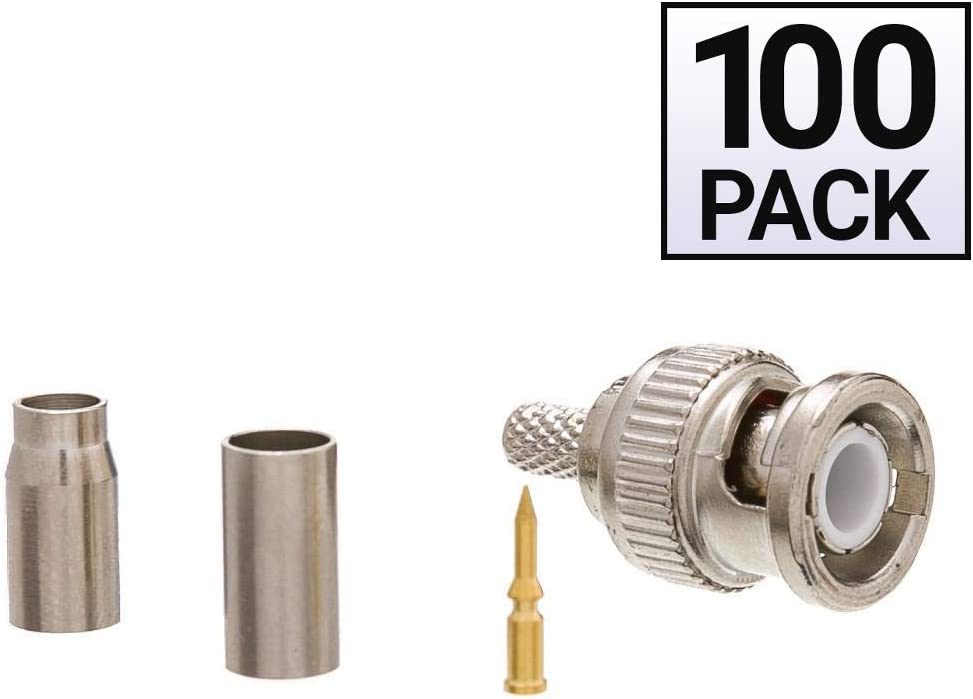 RG58 Stranded BNC Connector GOWOS 100 Pack 3 Piece Set