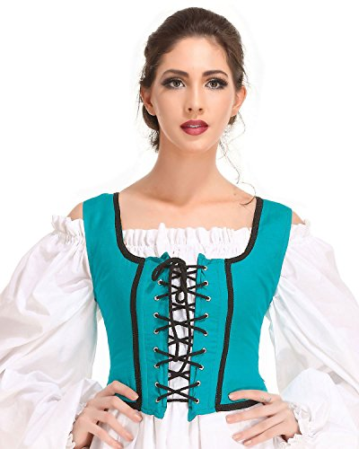 (Pirate Wench Peasant Renaissance Medieval Costume Corset Bodice [Green] (Large))