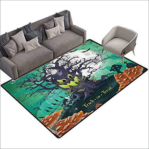 Bedroom Living Room Area Rug Halloween,Trick or Treat Halloween Theme Dead Forest with Spooky Tree Graves Big Mushrooms Kids Cartoon,Multi 36