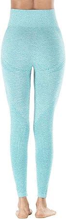 B/H Elástico Pretina Pantalones Bombachos,Leggings Yoga Cintura Alta sin Costuras, Mallas Control Barriga compresión, Leggins botín con Tope Burbuja, Pantalones portivos Porte para Mujer-4_S,Aerób
