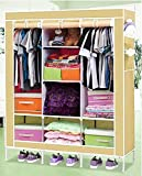 Evana 4.1 Feet (Light Grey) Folding Wardrobe Cupboard Almirah Foldable Storage Rack Collapsible Cabinet ...