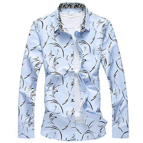 LEKODE Men Shirt Fashion Formal Loose Casual Daily Long Sleeve Tee Printed Blouse(Blue,M(L))]()