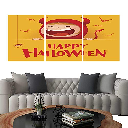 UHOO Pictures Paintings on Canvas WallHappy Halloween Red Devil Demon with Big Signboard Yellow Background Brick Wall Stickers -