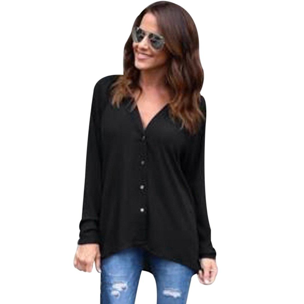 FUNOC Women Blouses Shirts Long Sleeve Chiffon Casual Tops Sexy Classic For Work