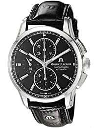 Men's 'Pontos' Swiss Automatic Stainless Steel and Leather Casual Watch, Color:Black (Model: PT6388-SS001-330-1)